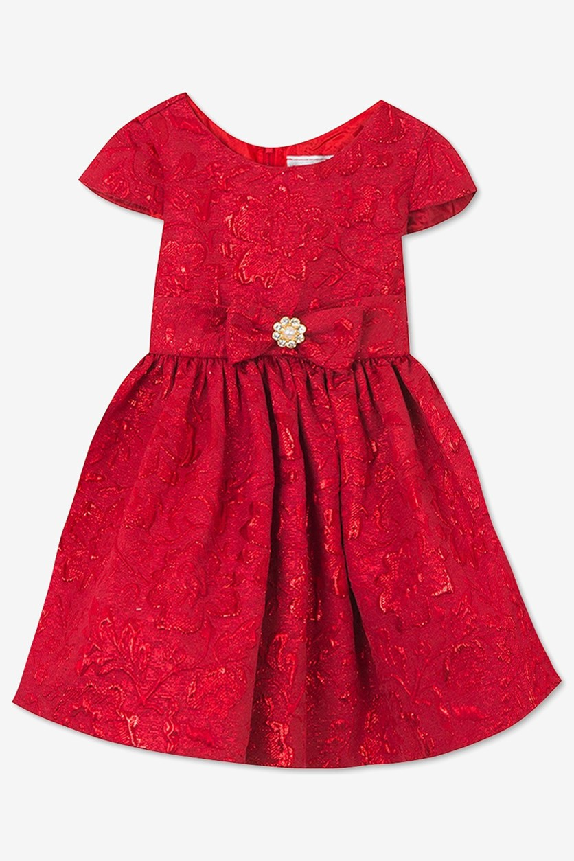 Toddler's Brocade Fit & Flare Dress, Red