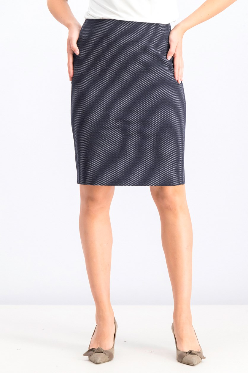 Women's Pencil Dot Skirt, Navy