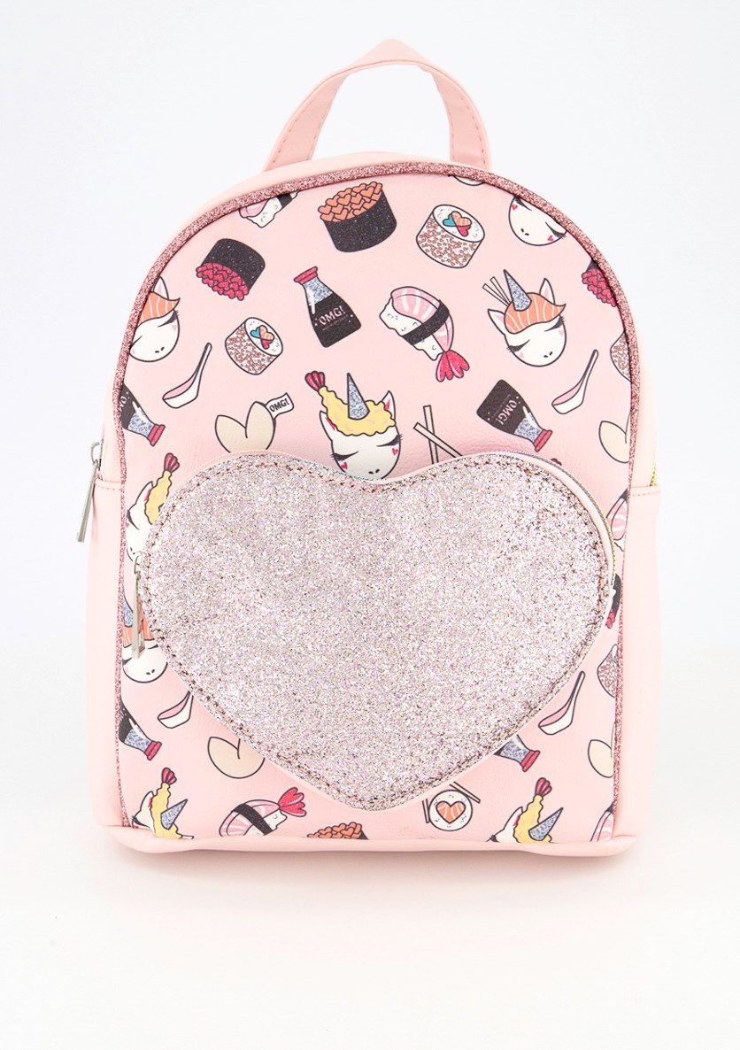 Kids Girls Unicorn Sushi Print With Heart Packet Mini Backpack, Pink Combo