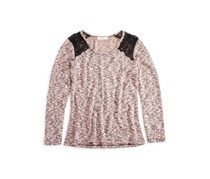 Girls' Lace Trimmed Marled Top, Pink