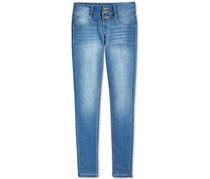 Kids Girl's Snap-Front Skinny Jeans, Blue