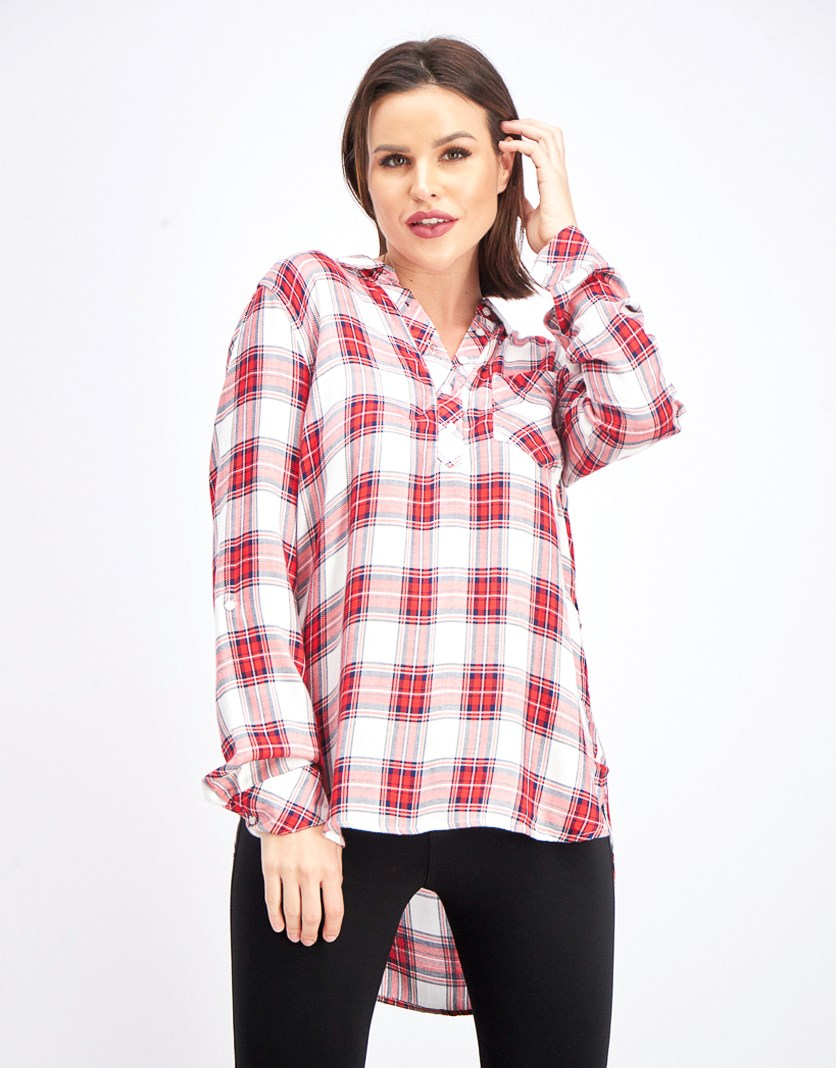Women's High & Low Plaid Top, Red/White