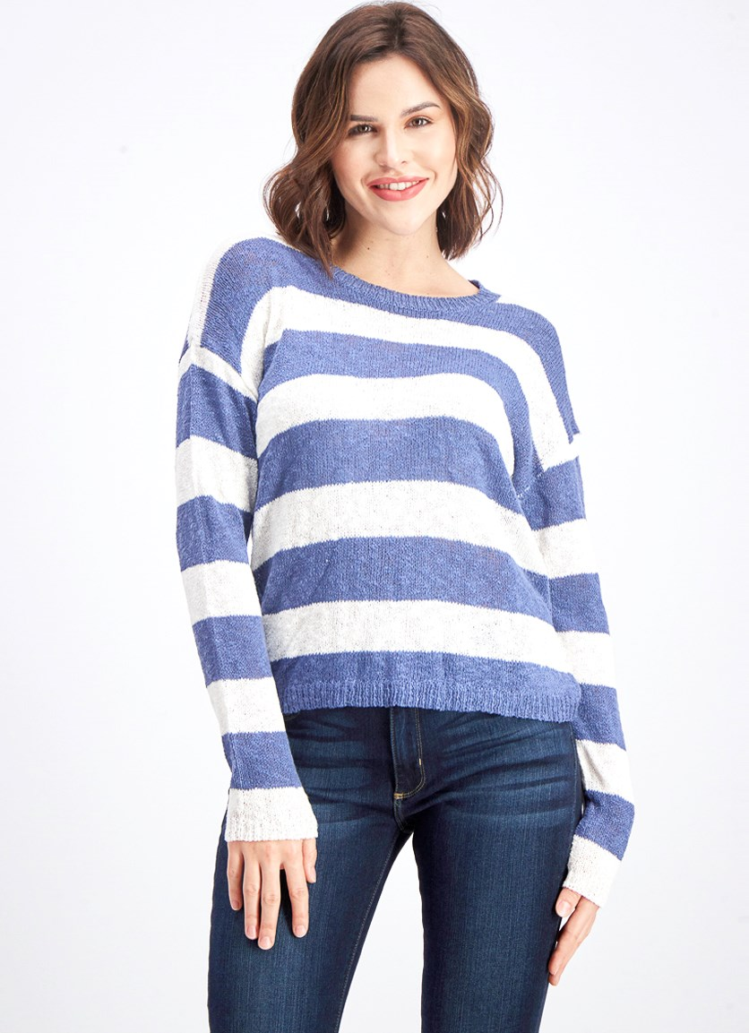 Women's Striped Sweater, White/Blue