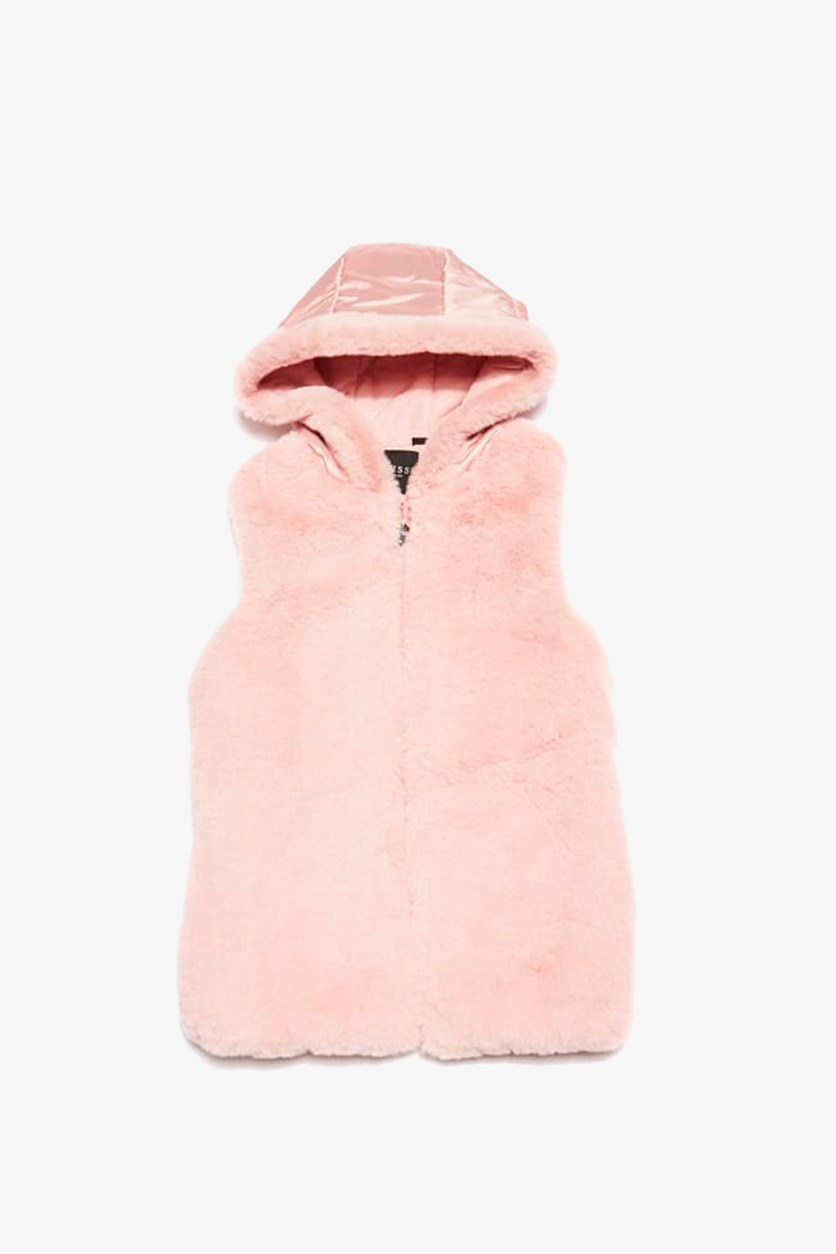 Girl's Faux Fur Zip Up Hooded Vest, Dark Pink