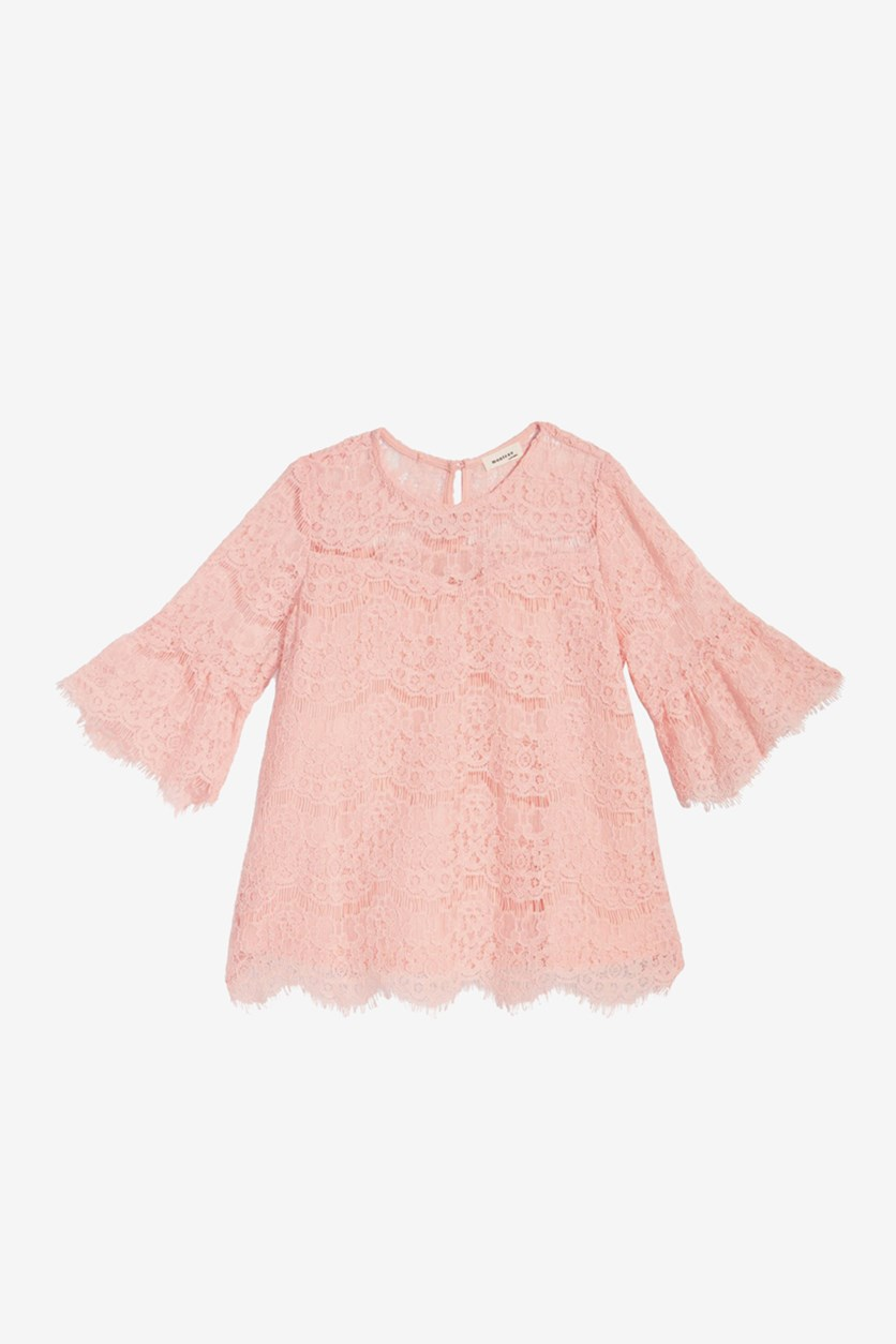 Big Girl's Lace Bell-Sleeve Top, Light Orange