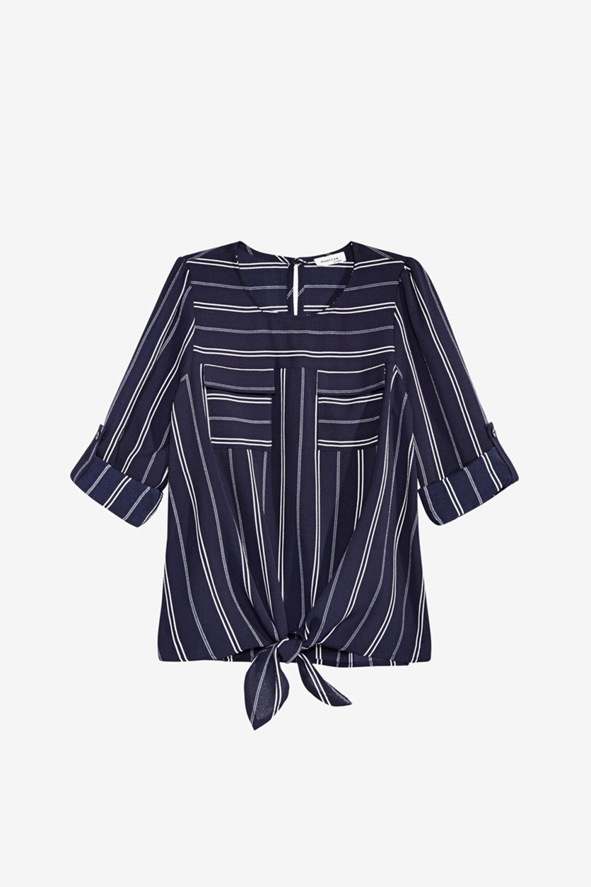 Big Girl's Striped Tie-Front Hacci Top, Navy Blue