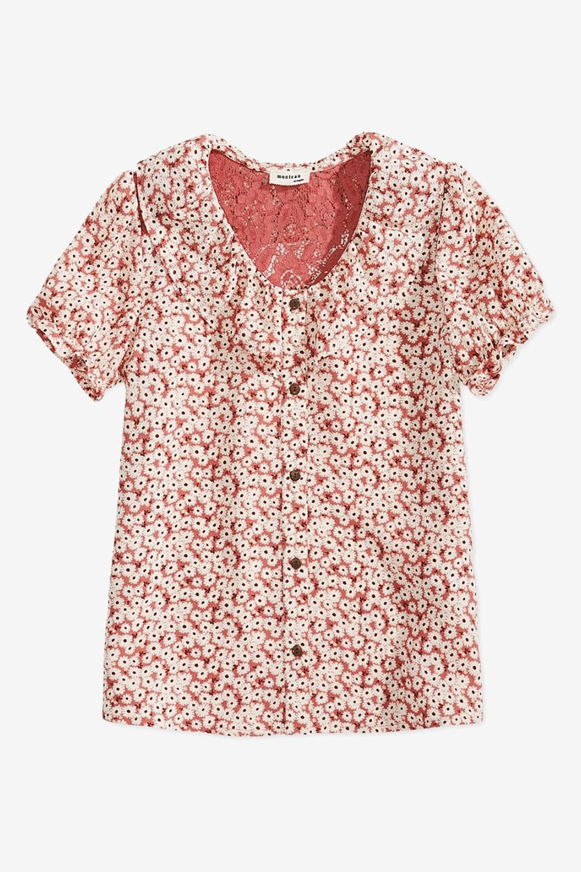 Big Girls Floral-Print Shirt, Pink