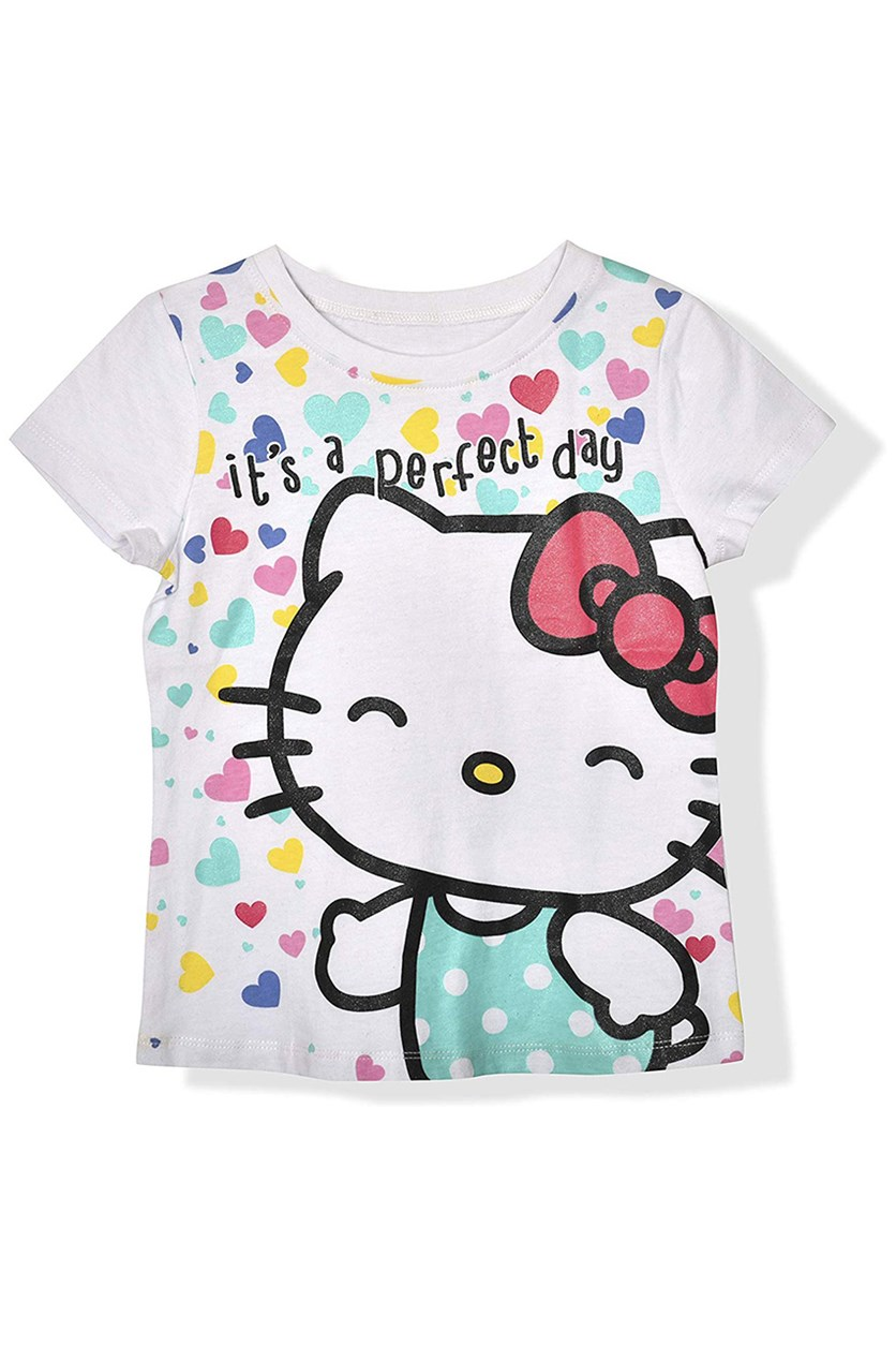 Kids Girl's Graphic Printed Tee, White Combo