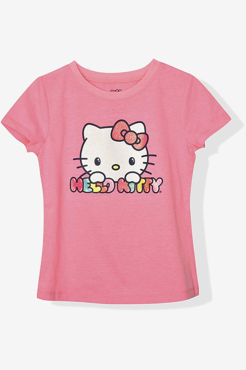 Big Girls Hello Kitty Print Tee, Cotton Candy