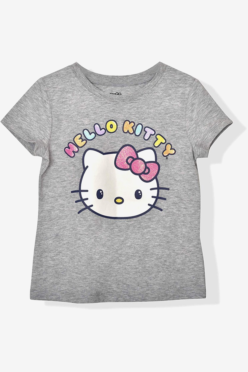 Big Girls Hello Kitty Print Tee, Light Grey Heather