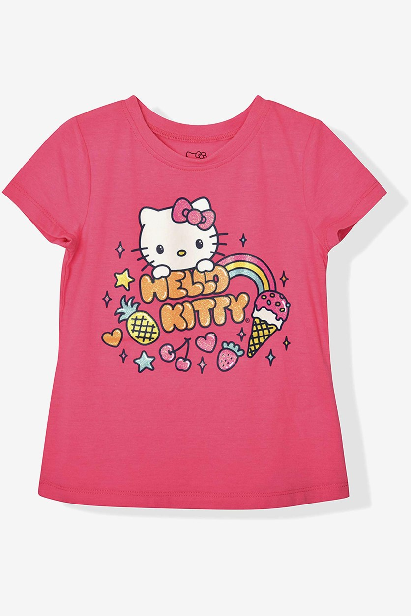 Big Girls Graphic Print Top, Knockout Pink