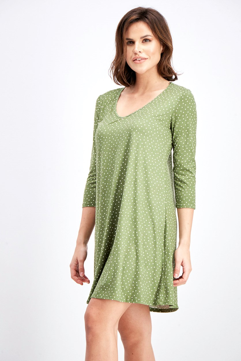Women's Polka Dots Dress, Olive