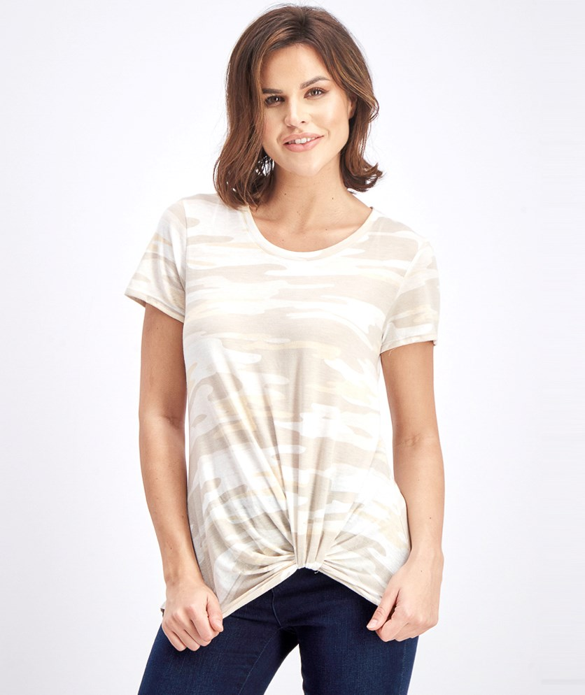 Women's Levie Printed Knot Front Knit Top, Beige Combo