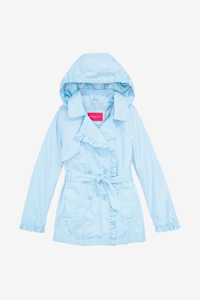 Girls Ruffled Trench Coat With Removable Hood, Blue