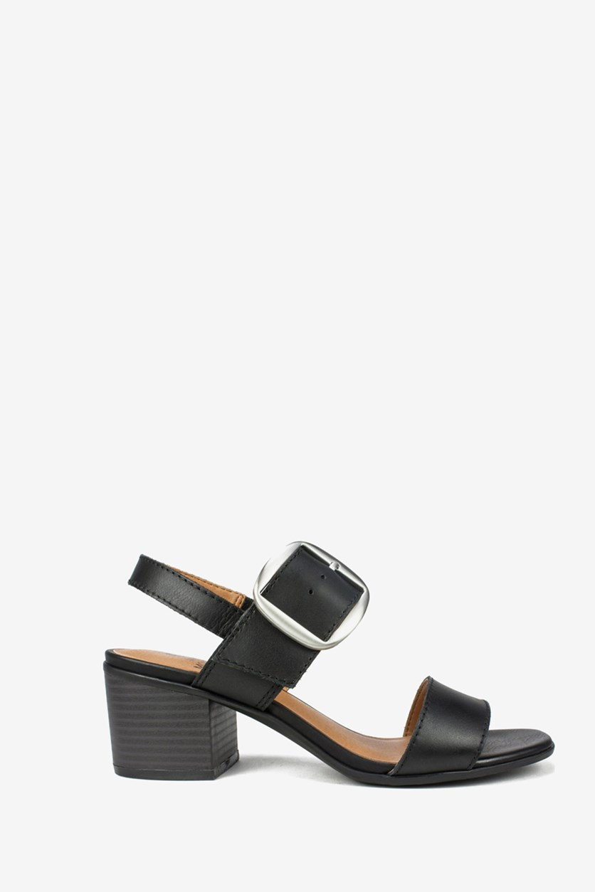 Women's Lamar Buckle Heeled Sandals, Black