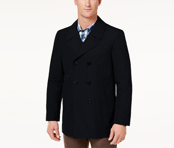 Men's Classic-Fit Double-Breasted Coat, Black