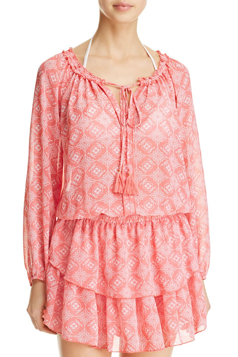 Floral Print Dress Swim Cover-Up, Pink