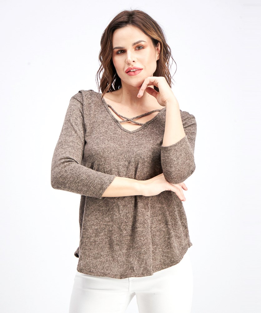 Women's  3/4 Sleeve Brushed Knit Top, Mocha