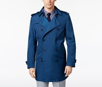 Men's Extra-Slim Fit Double-Breasted Raincoat, Blue