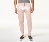 Young & Reckless Men's Big Script Logo-Print Joggers, Rose