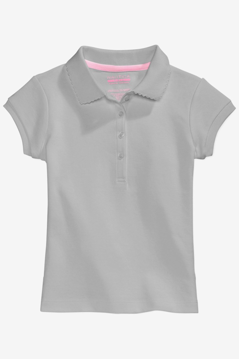Girls Uniform Picot Trim Polo, Grey Heather