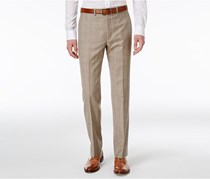 Ralph Lauren Men's Glen Plaid Flat Front Dress Pants, Tan