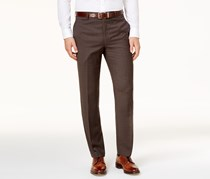 Men's Classic-Fit Windowpane Pants, Brown
