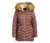 Women's Sherpa-Lined Long-Line Puffer Jacket, Dusty Pink