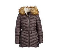Women's Faux Fur-Trim Hooded Puffer Coat, Dark Grey