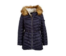 Women's Faux Fur-Trim Hooded Puffer Coat, Navy