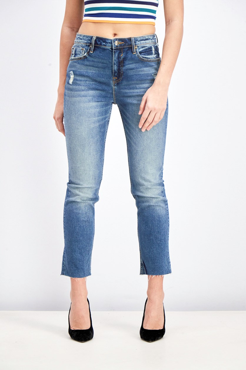 Women's Crop Straight Jeans, Denim Blue