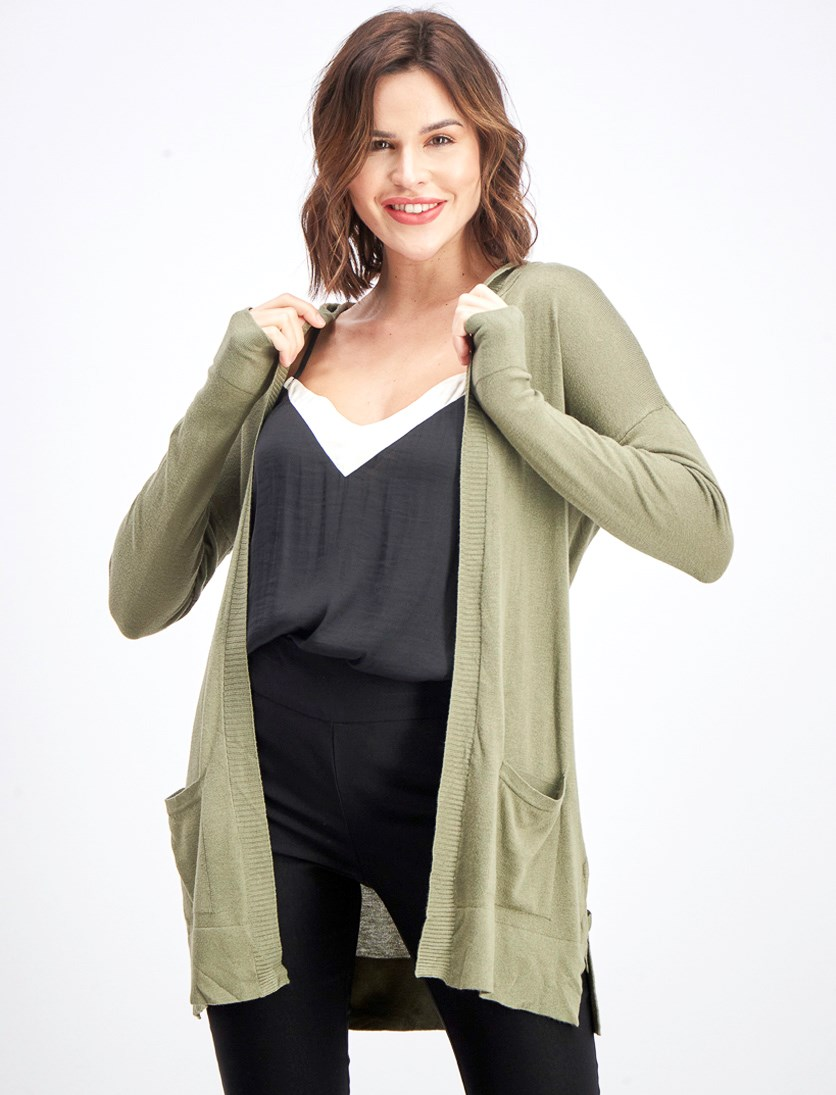 Women's Ariyah Hooded Side Detail Cardigan, Olive
