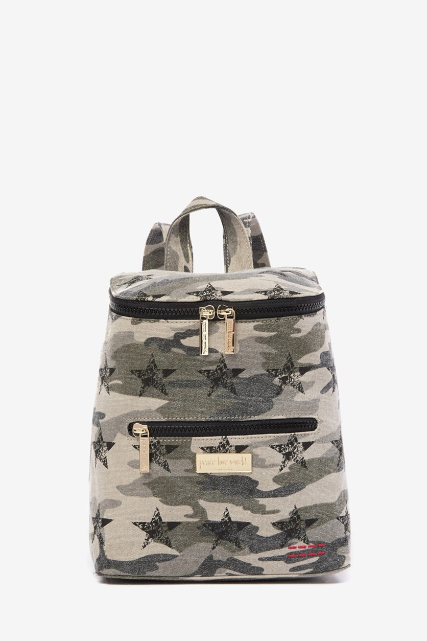 Women's Quilted Canvas Backpack, Camo Stars