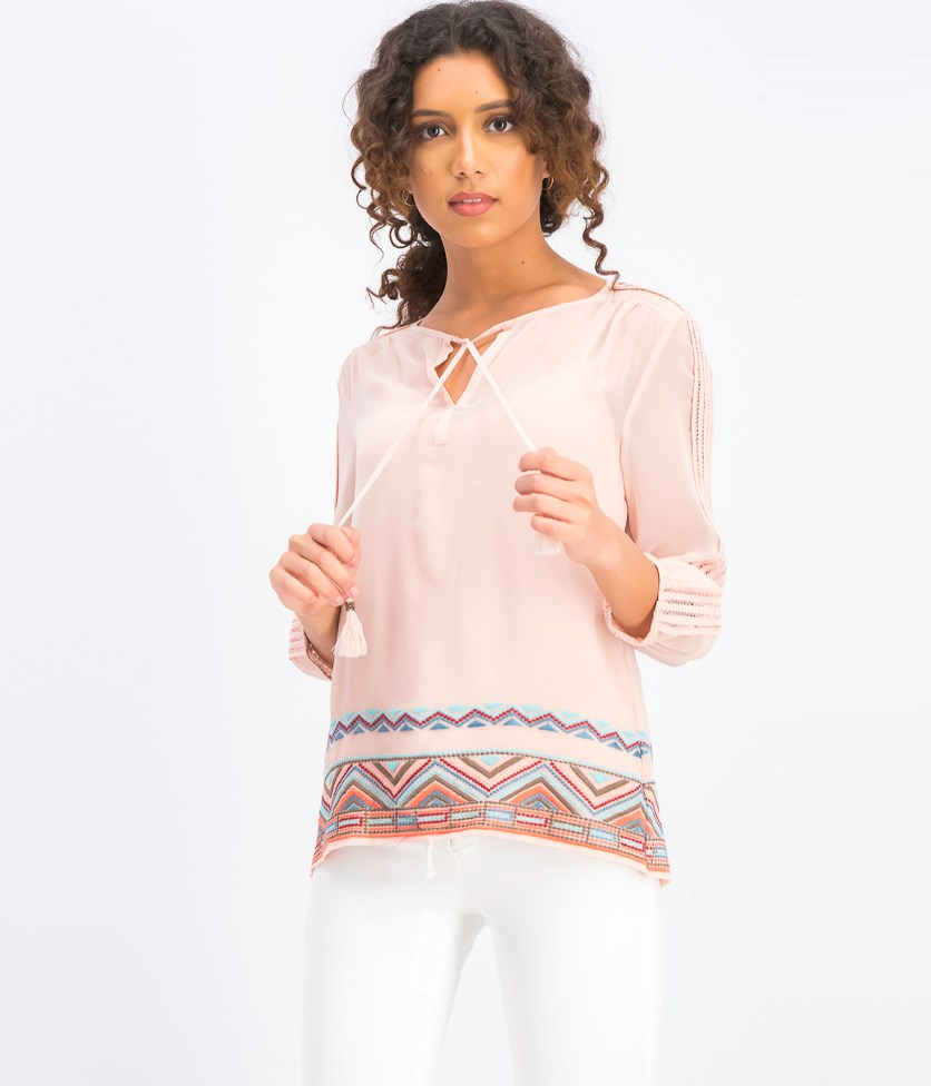 Women's Namila Embroidered Top, Peach