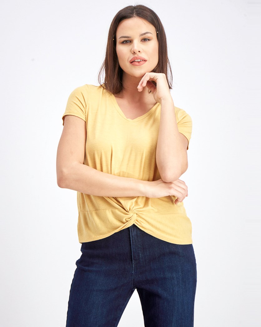 Women's V-neck Short Sleeve T-Shirt, Mustard