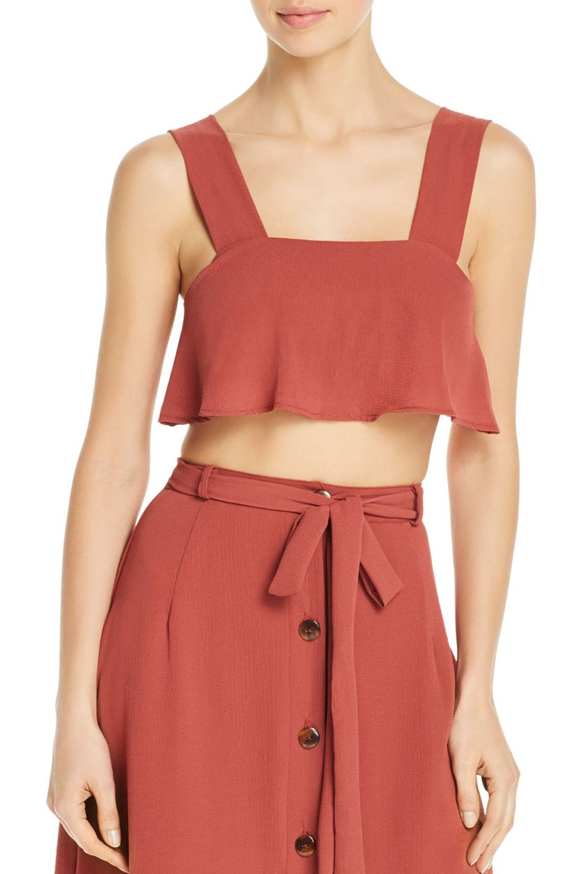 Womens Nina Cropped Ruffled Swim Top Cover-up, Cinnamon