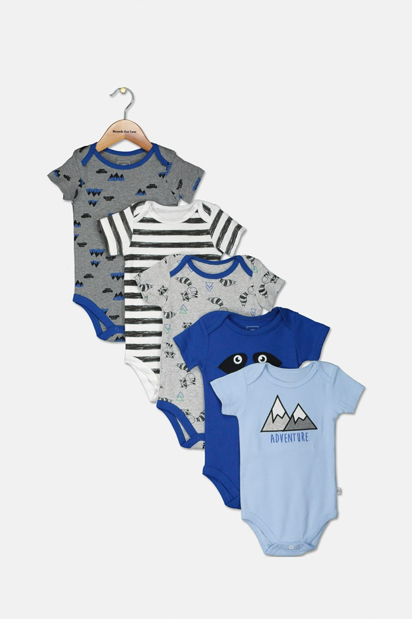 Baby Boy's 5 Pieces Bodysuit, Blue Combo