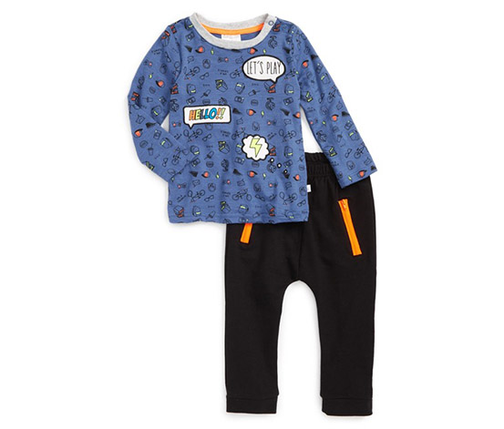 Word Bubble Applique Shirt & Sweatpants Set, Blue/Black
