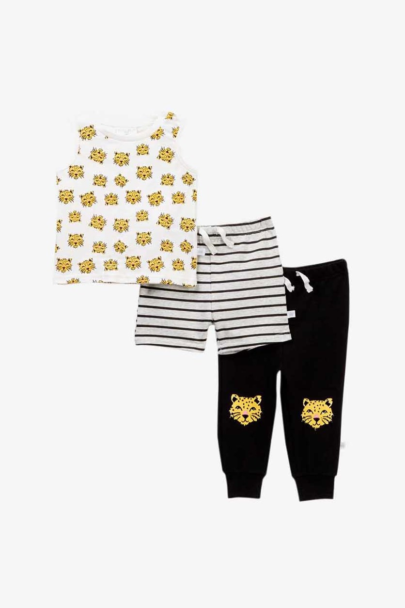 Boy's 3 Piece Top And Pants Set, White Combo