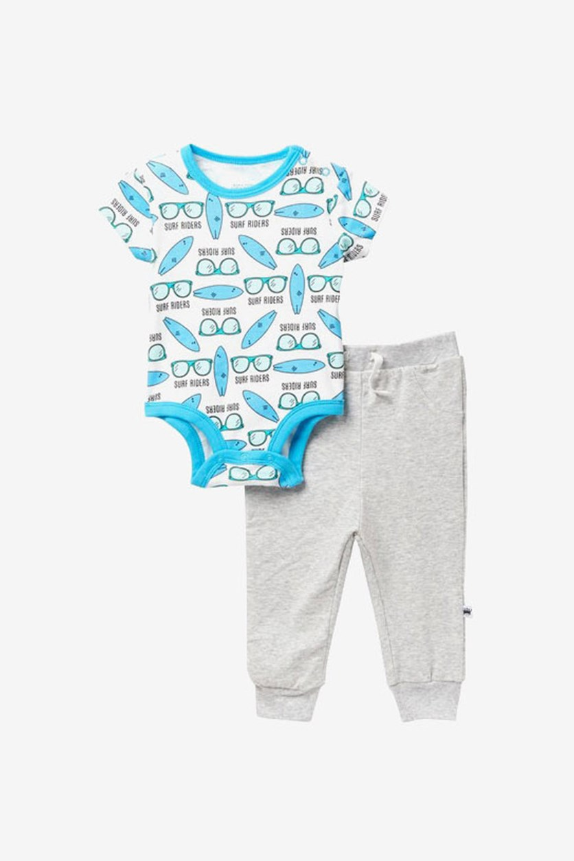Baby Boy's Surf Riders 2 Pieces Set, Blue/Grey/White