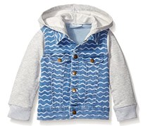 Baby Boy's Hooded Denim Jacket, Heather Gray