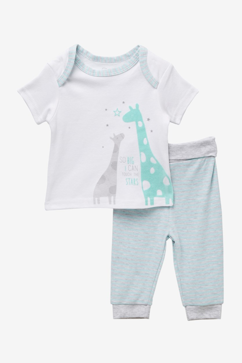 Toddler's Giraffe Printed Set, White Combo
