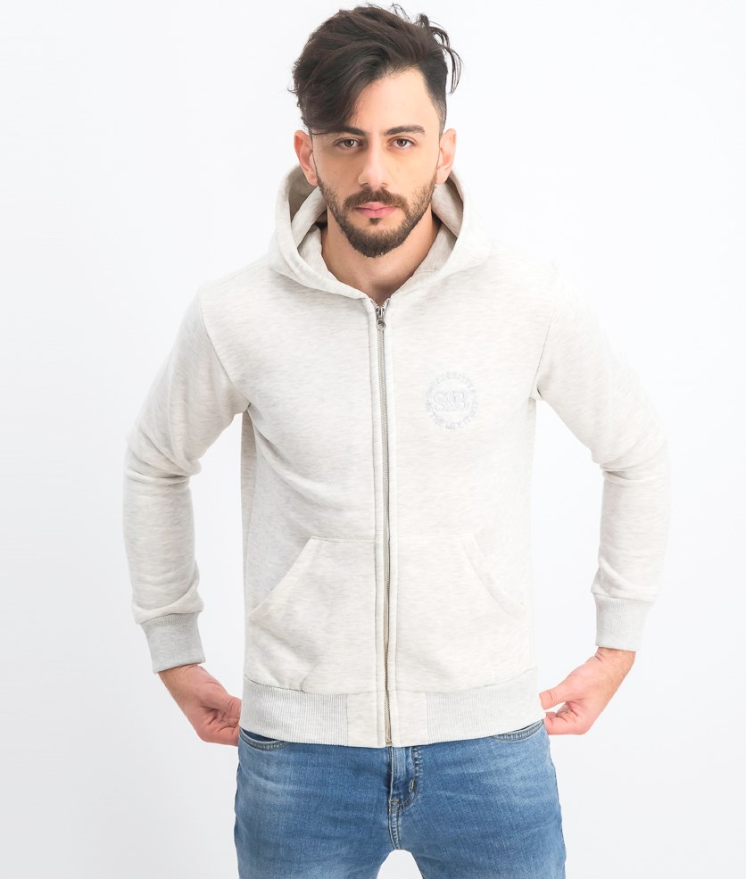 Men's Hoodie- Zip Sweater, Heather Gray