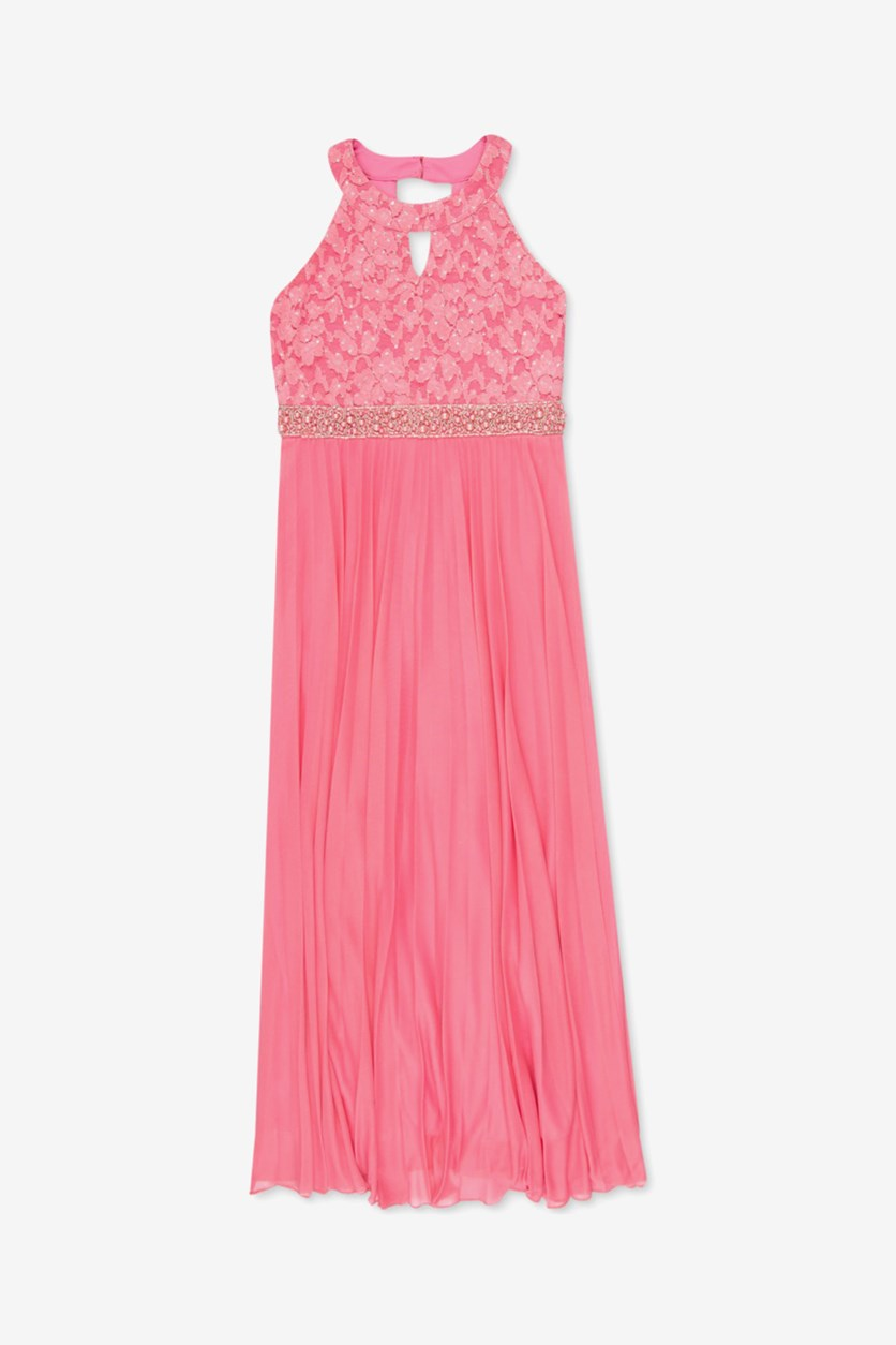 Big Girl's Lace Pleated Maxi Dress, Coral