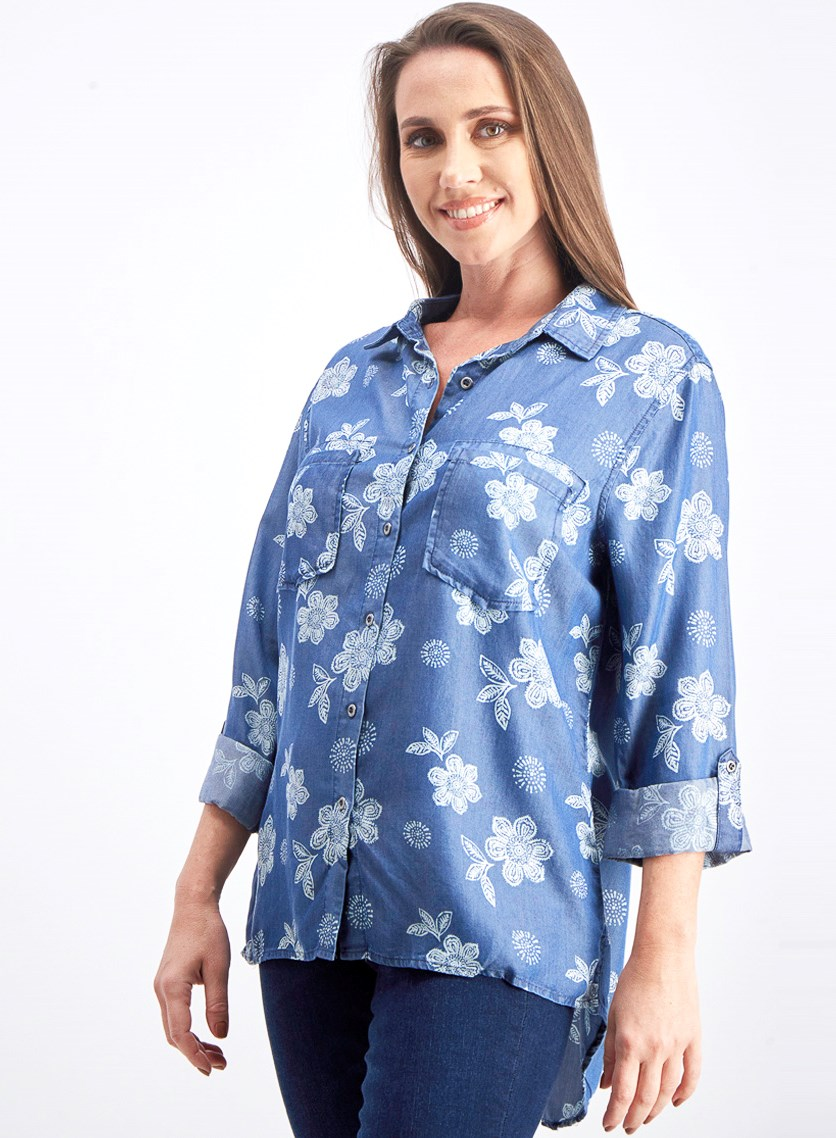 Women's Printed Shirt, Blue Combo
