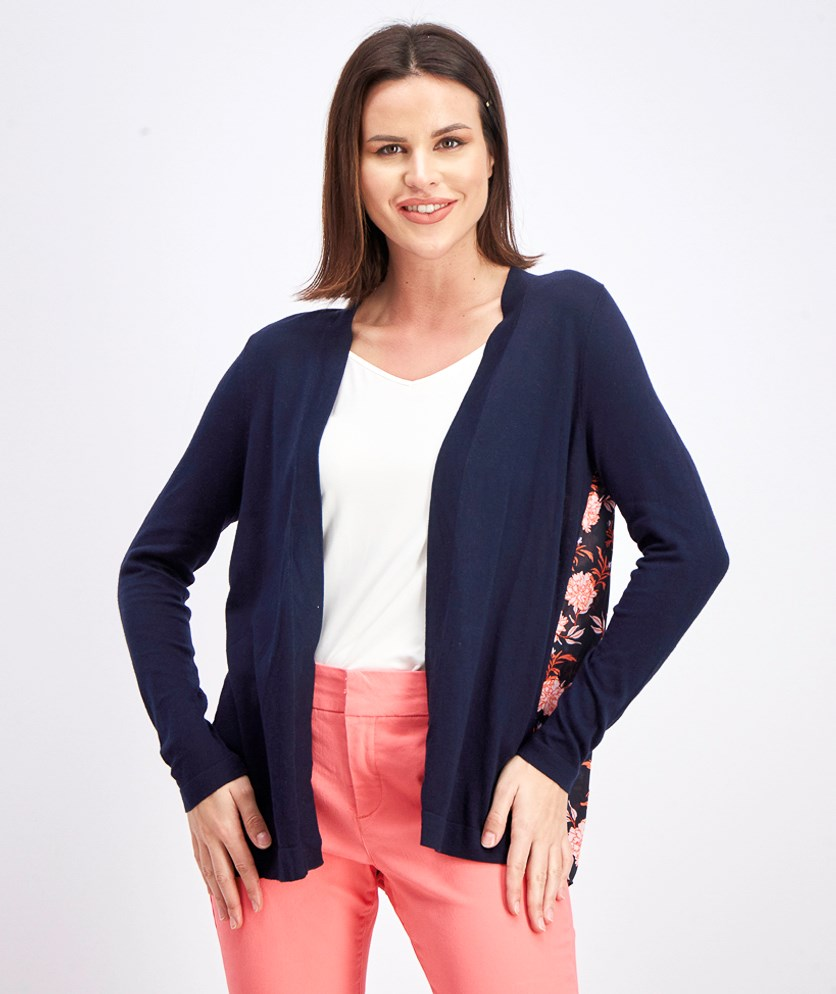 Women's Raylee Woven Back Knit Cardigan, Navy/Orange