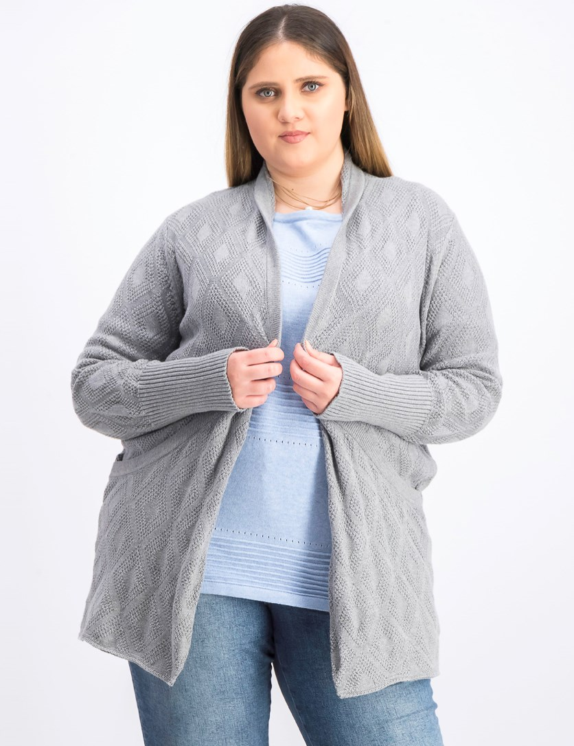 Women's Long Sleeves Knitted Cardigan, Grey