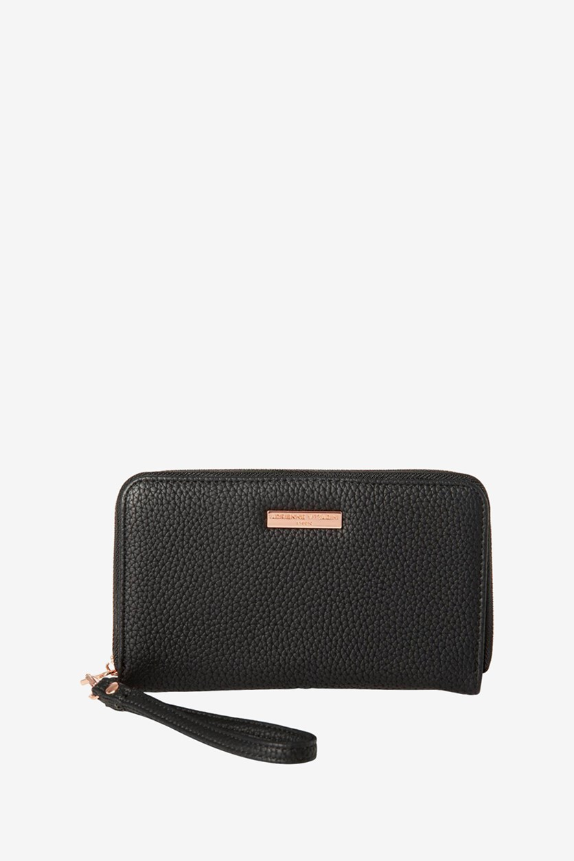 Wrislet Zip Around Wallet, Black Pebble/Rose Gold