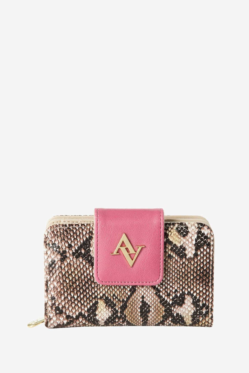 Snake Skin French Purse Wallet, Pink/Brown Combo