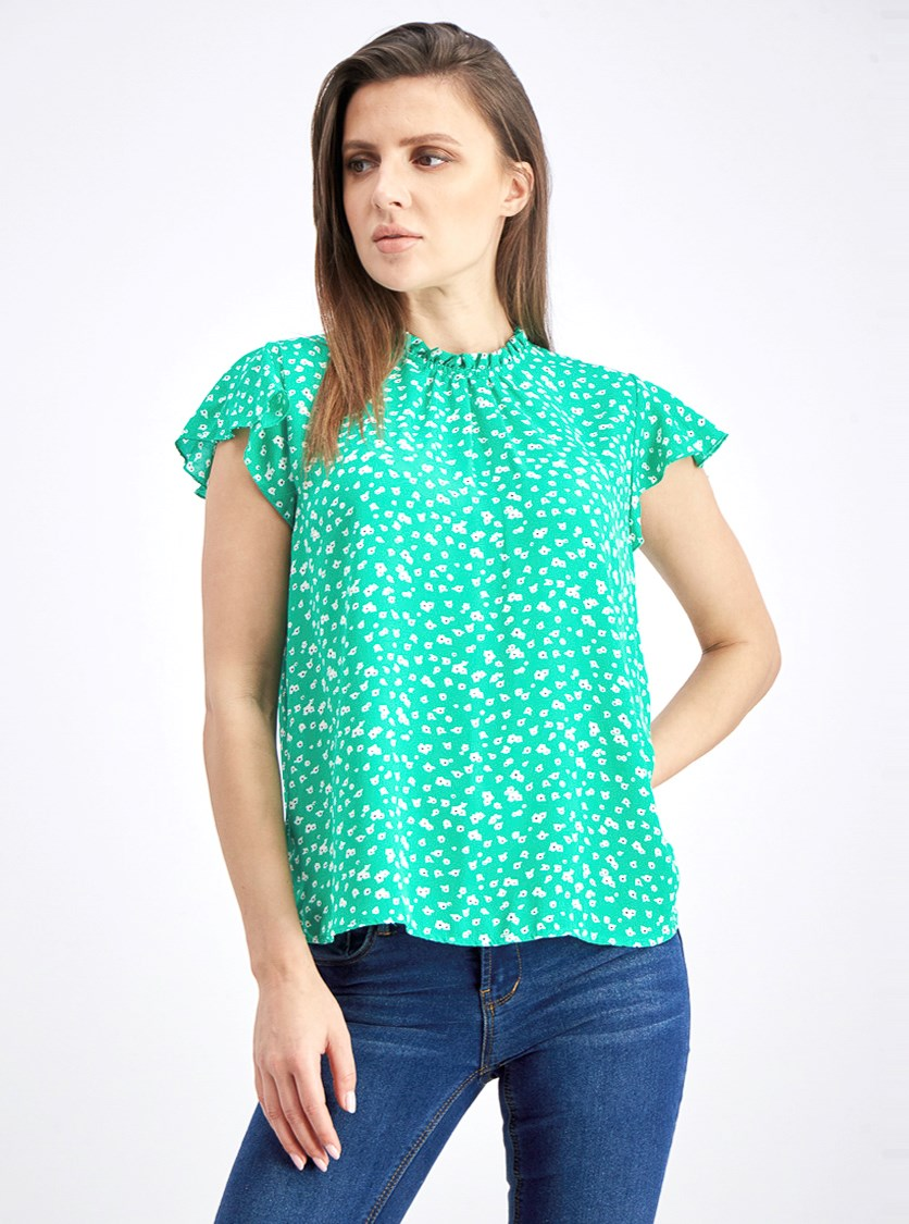 Women's Crew Neck Blouse, Green Floral